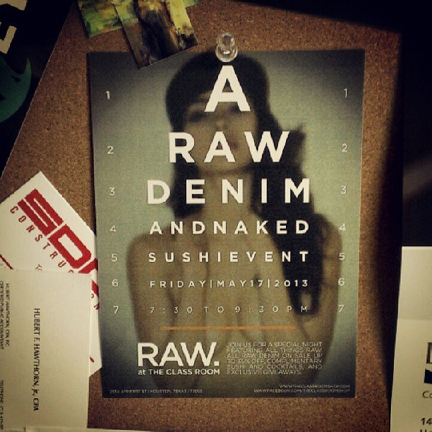 #RAW is an exclusive denim sale and naked sushi event we'll be hosting next Friday May 17 from 7:30-9:30. Save 15% when you buy any pair of raw denim, 20% when you buy 2 pairs, and 35% when you buy 3 more pairs. Enjoy complimentary sushi and cocktails during the event. Looking forward to seeing everyone there! #TCR #LifeStyleClass