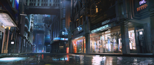 3D matte painting concept art for the Cyberpunk 2077 teaser trailer (via Cyberpunk 2077 by Maciej - Maciej Kuciara - CGHUB)