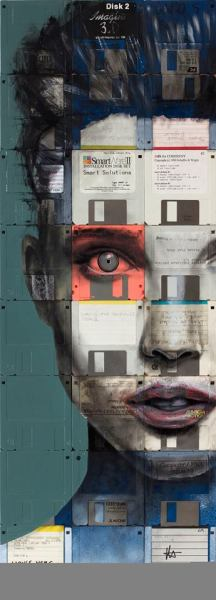 """lightningboltink:  """"ELECTRESS"""" painting on floppy disks by artist Nick Gentry."""