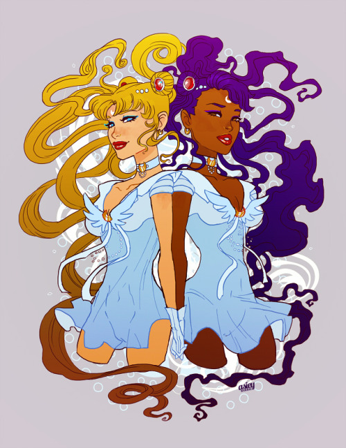 [Image: colorful fanart of Sailor Moon, both as her original design and as a black woman; the two are both smiling warmly as they hold hands, their hair flowing beautifully around them.]