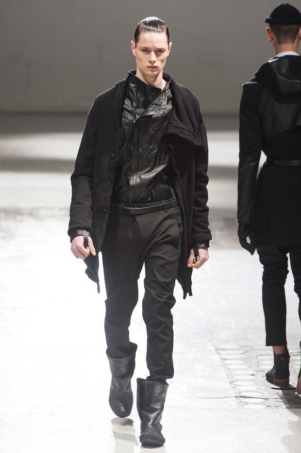 Boris Bidjan Saberi Fall Winter 2013 Men's There is some potential here but over all I feel it's too safe. It seems a lot of designers are moving that way so I'm not sure what to expect in the future. I'd like to see a return to the roots of the brand in some sense but of course progress must be made. I'm anticipating seeing individual pieces in this collection because I imagine many are quite wearable.  Full collection