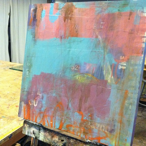 New painting in the works #art #color #oakland  #artist #design #studio #abstract #typography #urban #layers