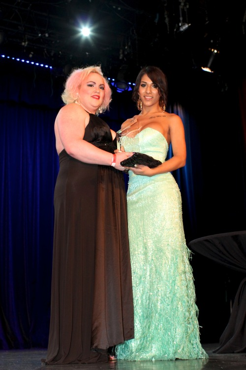 On Stage presenting Jane Marie with her Shemale Yum Model of The Year Award at 5th Annual Tranny Awards! Photo by Gio!