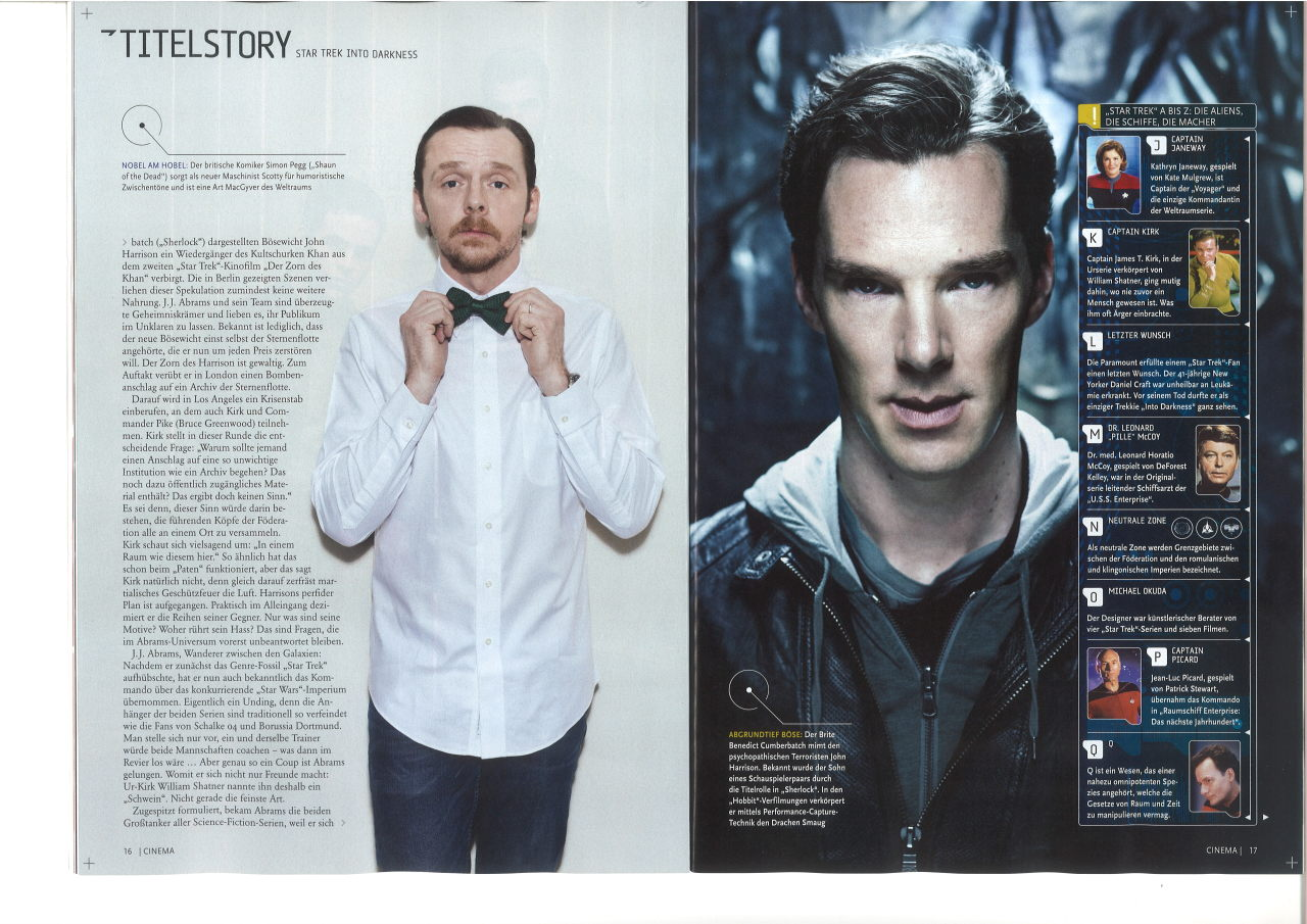 "schnickssammelsurium:  Here we go. Higher quality version of Simon Pegg and Benedict Cumberbatch. For all of you asking: It's from the German ""Cinema"" magazine (05/2013). I cannot offer a better version because my equipment isn't the best. :)"