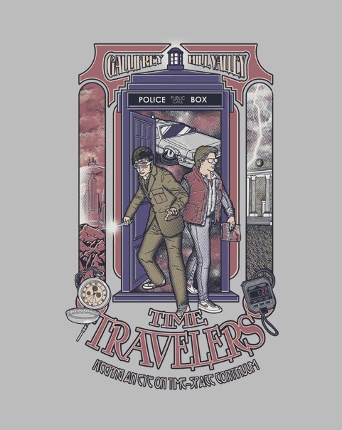 ShirtPunch Design #1:Time Travelers - by arinesartOn sale for 24 hours only for $10 from ShirtPunch .Also available on T-shirts, Hoodies, Posters, Buttons, Phone and Ipad Cases, Gaming Console Covers, Laptop Decals and more. .