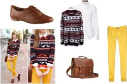 … by hannarachel featuring a snowflake sweaterBurberry white blouse / Snowflake sweater / Abercrombie & Fitch vintage jeans / ALDO lace up shoes / Leather messenger bag
