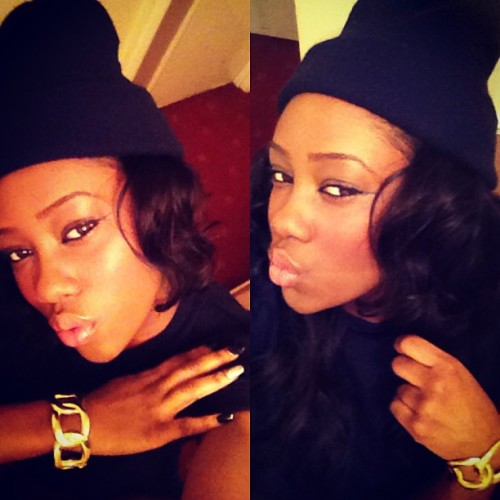 Snow days x All black✌#Gold #AllBlack #Beanie #Black #Curly #Hair