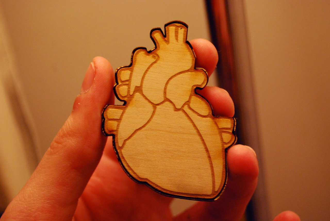 Laser cut heart brooch. Made for a Valentine's day gift.