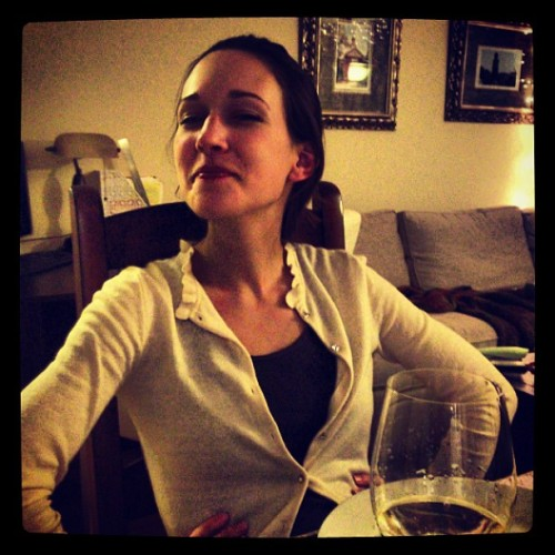 Adorable #wife. Drinking sparkling wine and eating our faux-Chinese food :)