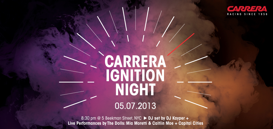 @hookedondolls are playing tomorrow with @capitalcities 10pm #carreraignition