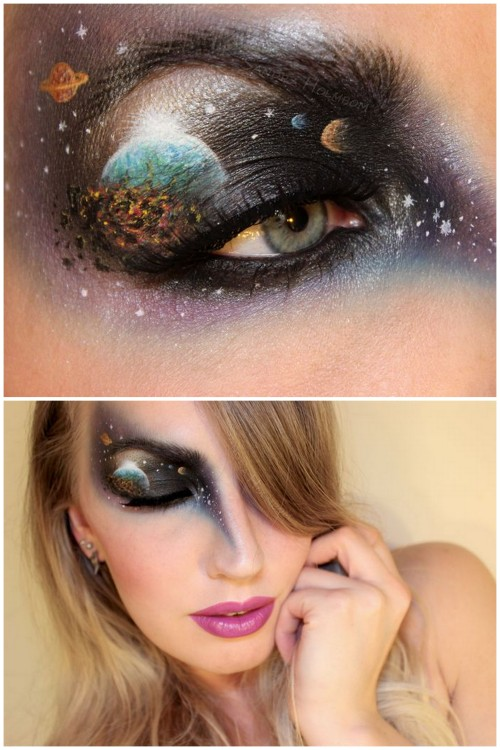 DIY Inspiration: Galaxy or End of the World Makeup from Sandra Holmbom here. For more of Sandra Holmbom's FX makeup that I've posted go here: halloweencrafts.tumblr.com/tagged/psychosandra and for more galaxy DIYs go here: truebluemeandyou.tumblr.com/tagged/galaxy