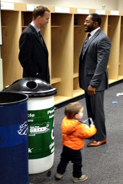"nfloffseason:  ""Great moment @ 1.5 hours after the game, Peyton Manning and his family waited to congratulate @raylewis52."" - Chad Steele"