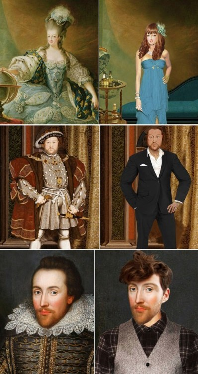 thedailywhat:  A New Perspective of the Day: Historical Figures Dressed in Contemporary Fashion Ever imagined what Shakespeare would look like if he were alive today? The British television channel Yesterdaycommissioned several illustrations of historical figures re-imagined as if they were still around for the biographical series Secret Life Of.Among those who were drawn include Queen Marie Antoinette as a high-class socialite (above, top), King Henry VIII as a suave suit-wearing gentleman (above, middle) and Shakespeare as a vest-wearing hipster (above, bottom).