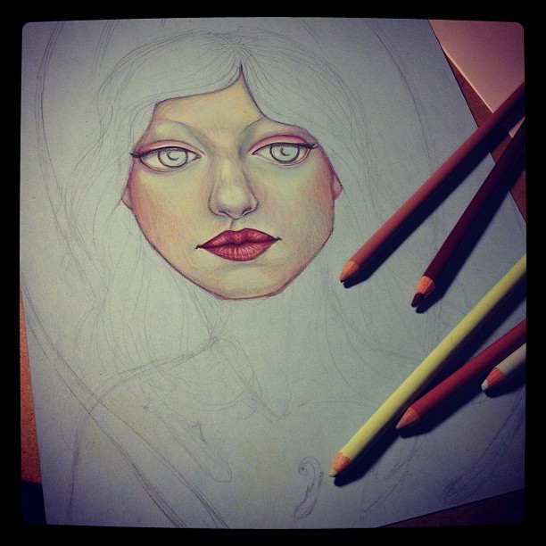 Off to bed. Close to finishing the face. #drawing #constantlyconstance #prismacolors #face #portrait #colorpencils