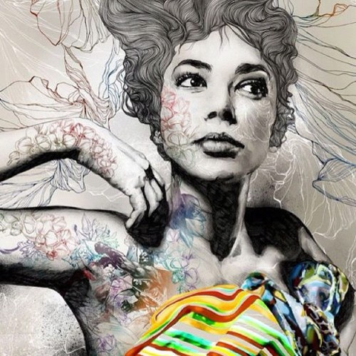 #art #girl #lines #color #blackandwhite #tats