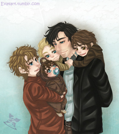 "mercurialkitty:  darthstitch:  eva4art:   ""It's about Family""  Ok let me tak to you about this AU: Read More  And then, I get Plot Bunnied. I'm going to write something based on this picture, aren't I? *brain explodes*  Frodo in a bear onesie must happen."