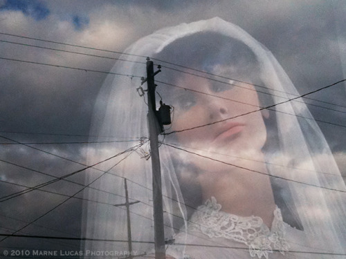 'Telephone Pole, Bride' © 2010 Marne Lucas Photography. All Rights Reserved.Taken while on a jog past a bridal shop that has had the saddest mannequins in the window for so many years! This photo inspired a haiku for the lonely bride…Telephone pole wirescrossed, prevent our connection, you know who you are. XO ML