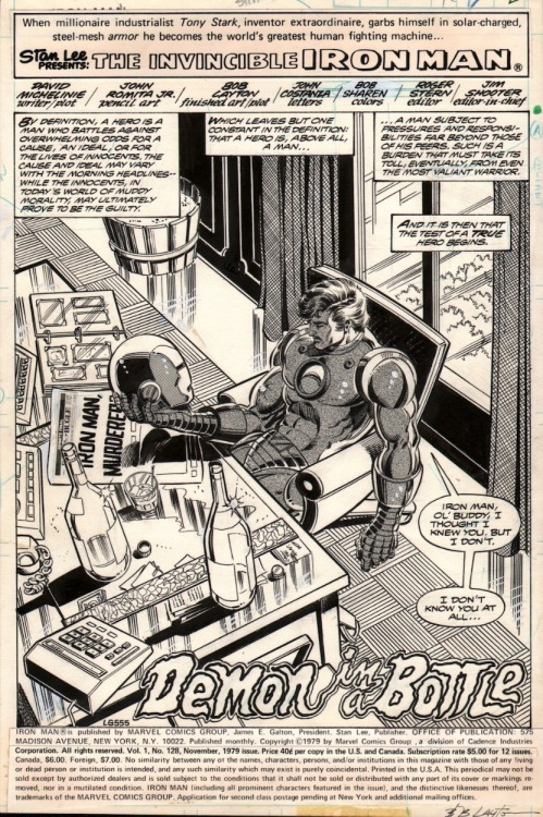 typingwriter:  themarvelageofcomics:  Splash page to IRON MAN #128 by John Romita Jr and Bob Layton.  Love this.