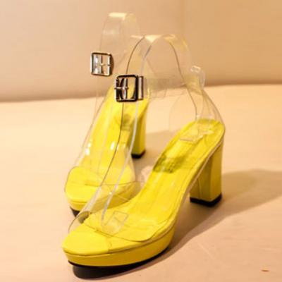 (via Transparent Open Toe Hasp Buckle Sandals)
