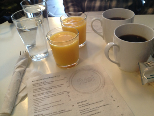 The trifecta is in full effect this morning at Fuel, a local brunch spot in Wilmette.  The fresh OJ and prosecco mimosas were sooo tempting, but given that Superbowl feasting awaits, we'll stick with water + juice+ caffeine for now.  (Go Ravens!)