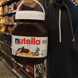 A giant Nutella Tub @ Paris, France  A giant Nutella Tub from a Paris department Store  Via Foodspotting