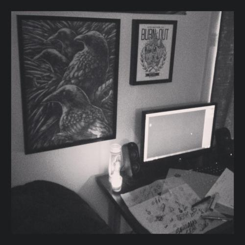 Put up some illustrations from godmachine and Drew Millward around my work space.