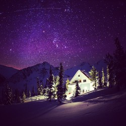patagonia:  A starry night at the Sorcerer Lodge, Northern Selkirks, BC. Photo by @garrettgrove