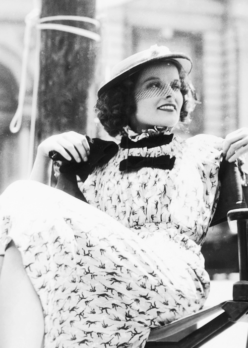 "msmildred:  Katharine Hepburn during the filming of ""Alice Adams"", 1935."