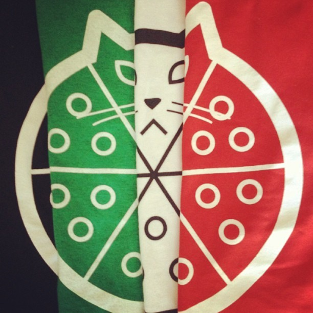 "the ""Pizza Cat"" logo shirt I designed for Jeremy Records is $8 right now, great gift for the pizza and cat lover in your life www.jeremyrecords.com"