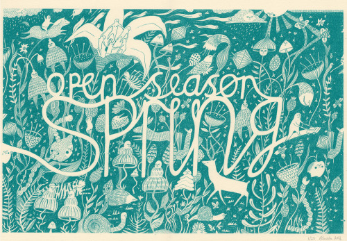 artpixie:  open season spring- screen print (by Melissa Castrillon)