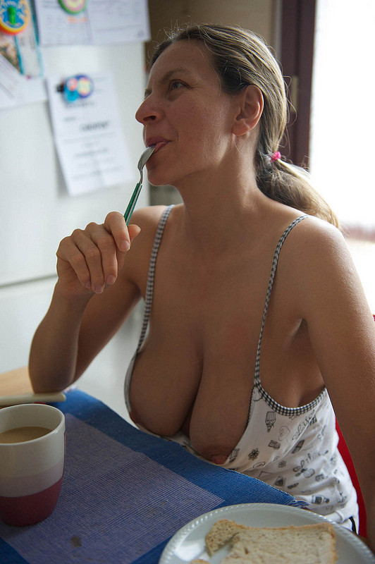 Downblouse mature cleavage amateur see through