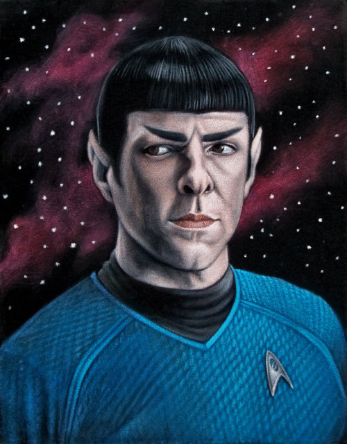"Quinto as Spock 11"" x 14"" acrylic on velvet$350 Part of the group show ""The Official Bad Robot Experience"" presented  by Gallery1988 (West), 7308 Melrose Ave Los Angeles, CA.  Show runs April 26th through May 18, 2013."