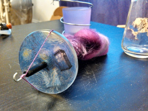 knittingneedlesandninjastars:  geekgirlfibers:  Purple Longwool on my Tardis Spindle.   WHERE DID YOU GET THIS AMAZING SPINDLE????  From the Etsy shop Spinatude.  She makes wonderful spindles.  I don't think she's doing custom spindles right now but I could be mistaken.