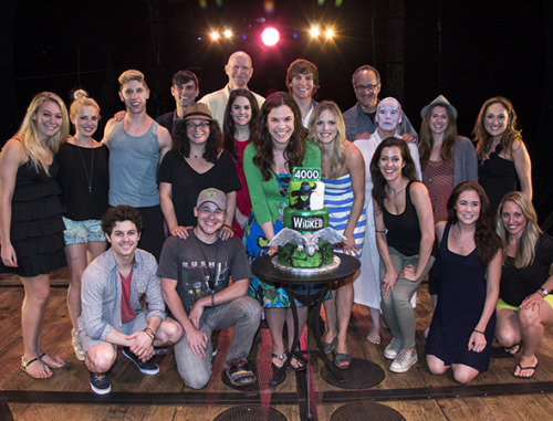 Wicked Has Defied Gravity on Broadway 4,000 Times The long-running musical, starring Lindsay Mendez and Katie Rose Clarke, celebrates the landmark moment at the Gershwin Theatre with a three-layer cake. Wicked celebrated its 4,000th performance at the Gershwin Theatre on Tuesday, June 18. Before the show began, the cast — led by Lindsay Mendez, Katie Rose Clarke, and Derek Klena — and crew toasted the show's success with an onstage dessert party. © David Gordon