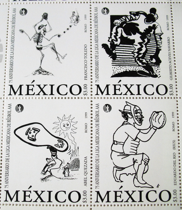 The stamp set marks the 75th anniversary of Mexico's AAA Baseball League and features the work of four popular Mexican illustrators. Clockwise from upper left, they are Francisco Toledo, a graphic artist well known for his social commitment to his home state of Oaxaca; Gilberto Aceves Navarro, painter, teacher, and member of the Academia de Artes in Mexico City; Eduardo Del Rio (Rius), a widely read political cartoonist, author, and activist; and the late Abel Quezada, another leading Mexican political cartoonist and painter. Quezada created over a dozen New Yorker covers between 1981 and his death in 1991. Text and photo by Michael Bartalos Bartalos Illustration