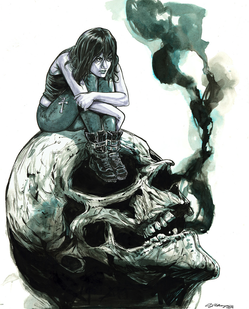 Death from Sandman. Watercolors and inks on watercolor paper.