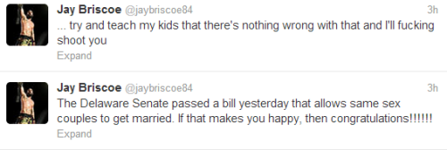 "Surprising No One, Jay Briscoe Is Homophobic After a gay marriage bill passed in Delaware, the ROH World Champion tweeted the above messages. A back handed compliment proving that some regional stereotypes die hard, or aren't as gone as some of us would like to think. This isn't the first time he has done so, either. After same sex marriage was legalized in New York, Jay Briscoe tweeted the following:   ""Damn theres a lot of fags out in New York today #WhatTheFuck""   The tweet has since been deleted."