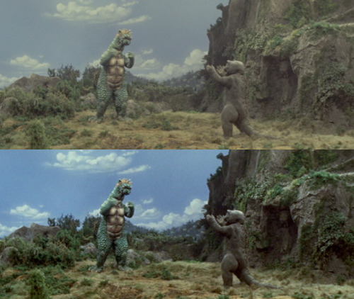 spacehunter-m:  Above: Toho R2 Transfer. Below: Same frame, with brightness, contrast and saturation correction.