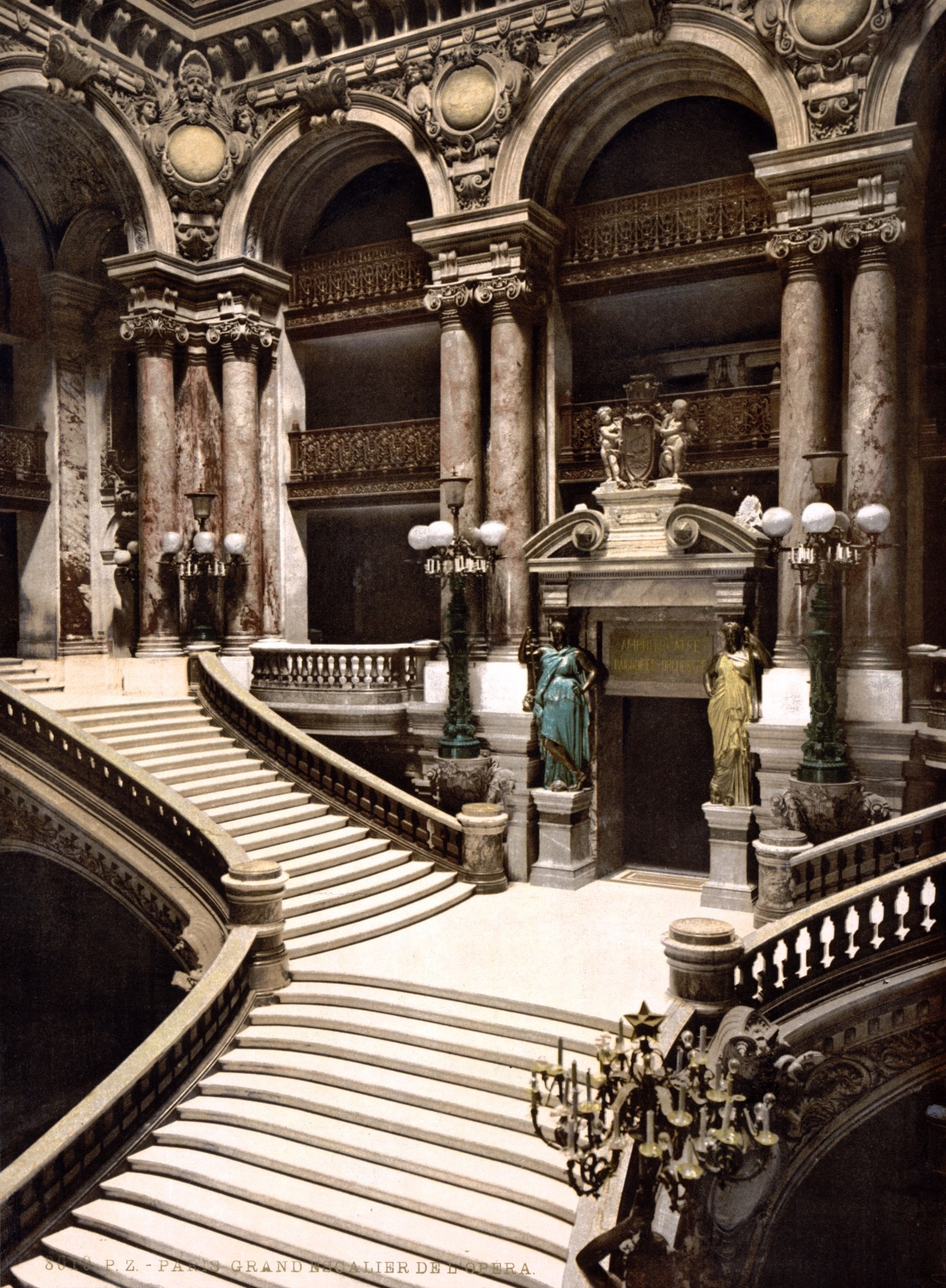 Inside the grand staircase of Charles Garnier's Opera House, Paris