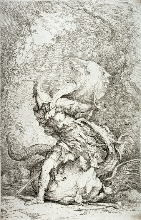 blackpaint20:  The great Salvator Rosa - Jason and the Dragon, Italian 1663 - 1664 Etching and drypoint.