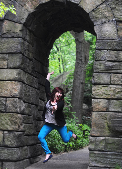 allisonstock:  Siobhan jumps for joy (after flipping me off) in what I like to call the Narnia gate. idk. But this is the definition of epic.