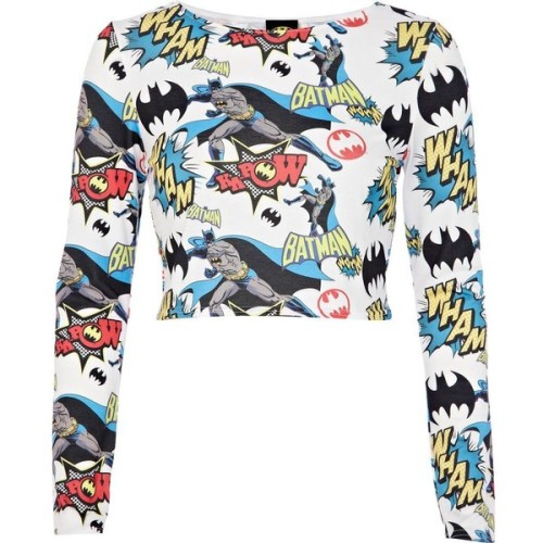 River Island White Batman comic print crop top   ❤ liked on Polyvore (see more white shirts)