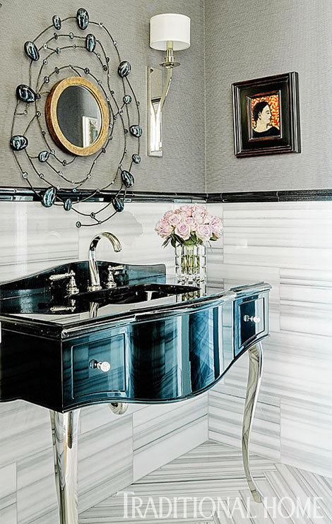 Glam little powder room (via Traditional Home®)