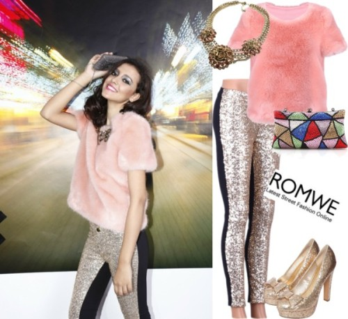 Party Necessaries! by romwe featuring crystal handbags ❤ liked on PolyvoreFur coat / Sequin legging / Blink glitter heels, $32 / Crystal handbag / Curb chain necklace