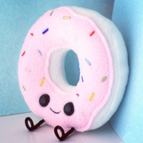 Happy Donut Plush…with feets!! http://www.shanalogic.com/happy-donut-plush.html #food #handmade