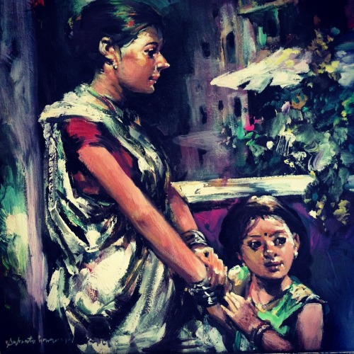 Indian Mother and her Child (oil on canvas)