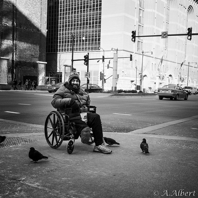 Homeless with Birds by Anton Albert on Flickr.Via Flickr: This man and I met at this city street corner and we were both surprised to see all these pigeons around, he posed for a quick photo and we said our goodbyes.
