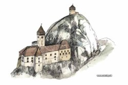 "Lednica Castle, Slovakia Castle visual reconstruction based on the historical evidence from the book: ""Kamenní strážcovia"" (""Stone Guardians"") One of the most inaccessible castles in Slovakia. It looks like an eagles nest and it is believed to be a home of a ghost - White Lady. To get to the inner part of the castle, you have to walk the tunnel inside the rocky mountain and then take 80 steps of the stone stairway. Location on map: GPS: N49°6'47.92""   E18°12'20.12""  (Google Earth ) The castle is located on the cliff Kobulinka above Lednica village, at the altitude of 450 meters. It was built at the end of the 13th century as a seat of the Lednice estate and belonged to the group of royal castles. Imperial troops destroyed it at the beginning of the 18th century (1710). Only the remains of walls survive. Owned by several noble families : Marek of Lednica, Matúš Čák of Trenčín ""Lord of the river Váh and the Tatra Mountains"", Pakšiovci, Bielikovci, Podmanickovci, Imrich Telekeši, Rákocziovci, Maťašovskovci. (Several documents, especially of the 15th century are in Slovak language among others). The legend says that the spirit of the beautiful lady of the castle Katarína walks on top of them in the night. The lord of the castle kidnapped her on the day of her wedding but Katarína wearing the white gown preferred to jump down from the castle walls. If you would like to participate on the castle reconstruction, please contact the people here. VIA"