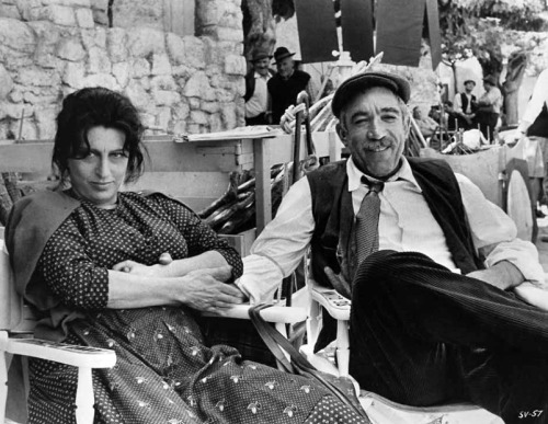 Anna Magnani and Anthony Quinn relax between takes of The Secret of Santa Vittoria