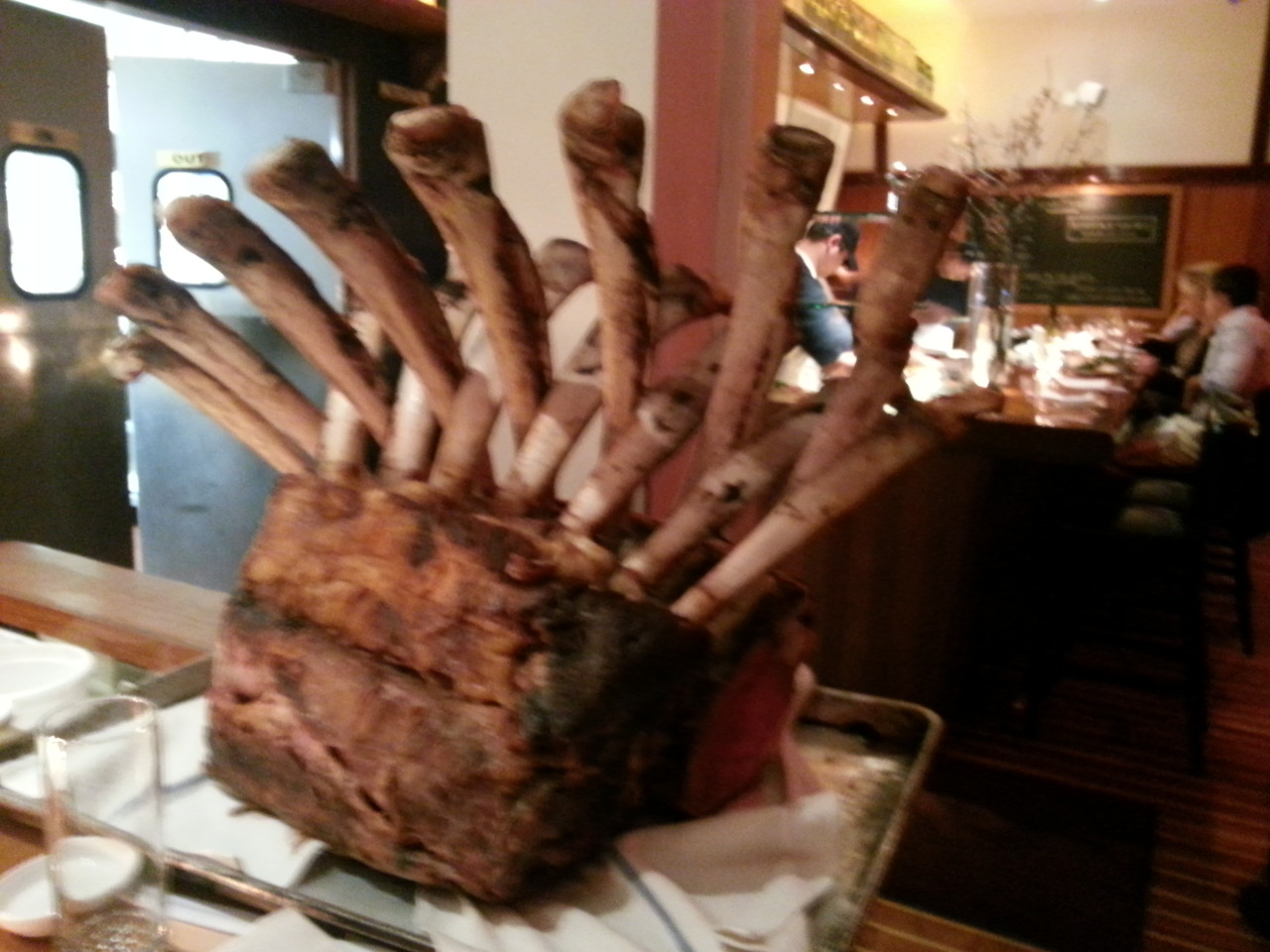 Meat night at Lure, full rib roast tomahawk cut